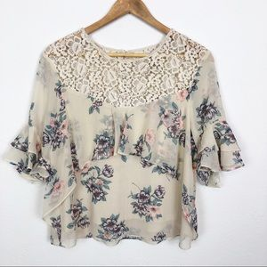 Moon River Tiered Flower Print Blouse.